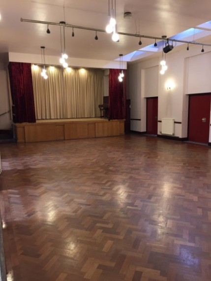 Large hall with wooden floor